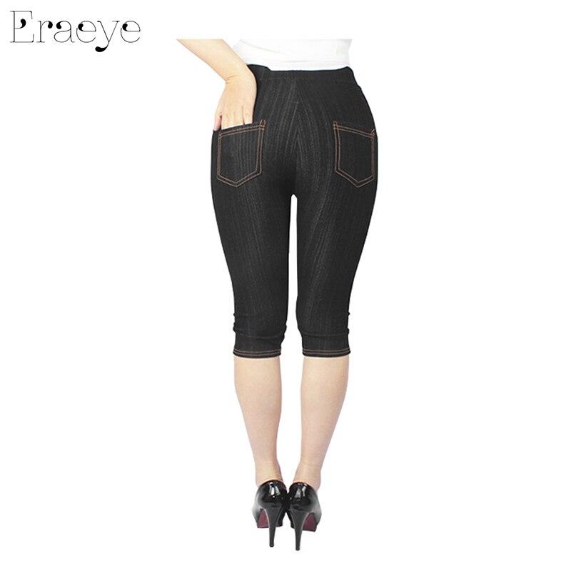 8ff3d59bff282 ERAEYE Summer Women High Elastic Sexy Faux Jeans Leggings Large Size 5XL  Imitation Jeans Knee Length Pants Plus Denim Leggings-in Leggings from  Women s ...