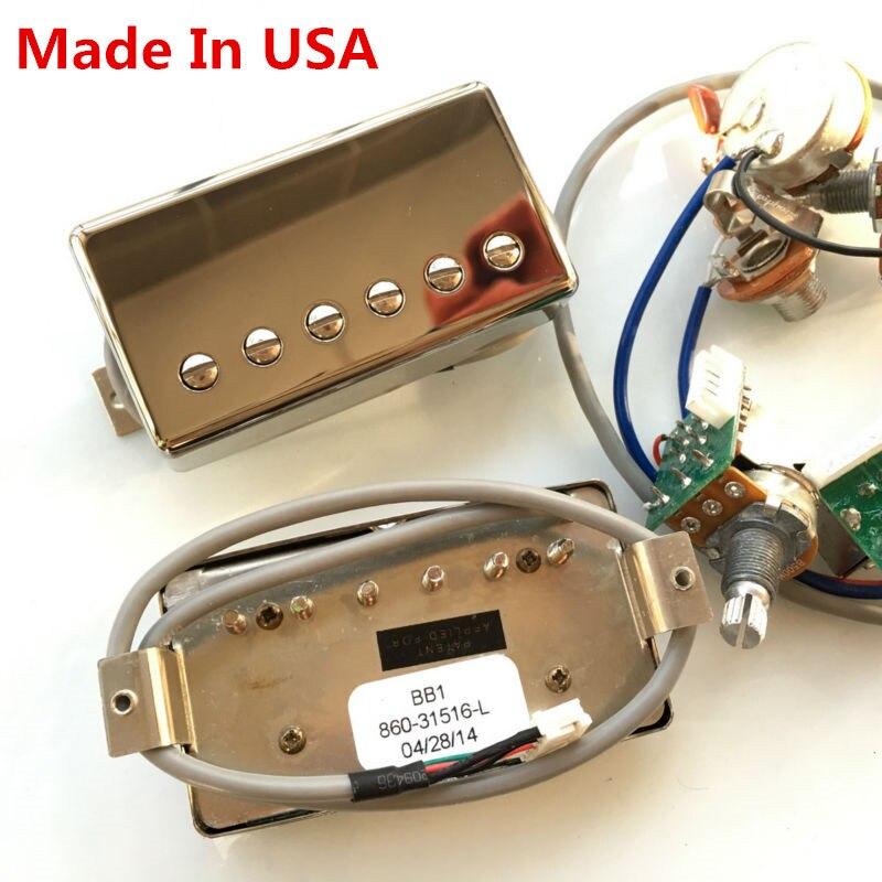 1 Set de micros Humbucker guitare électrique avec faisceau de câbles Pro pour Gib BB1 BB2 BB Series Nickel Cover argent fabriqué aux etats-unis