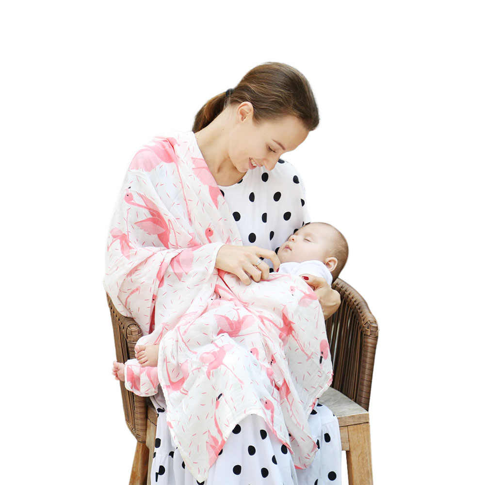 Baby produFlamingo Organic Baby Swaddle Muslin Bamboo Cotton Baby Blanket Diapers Envelope For Discharge Newborns Wrap Bedding