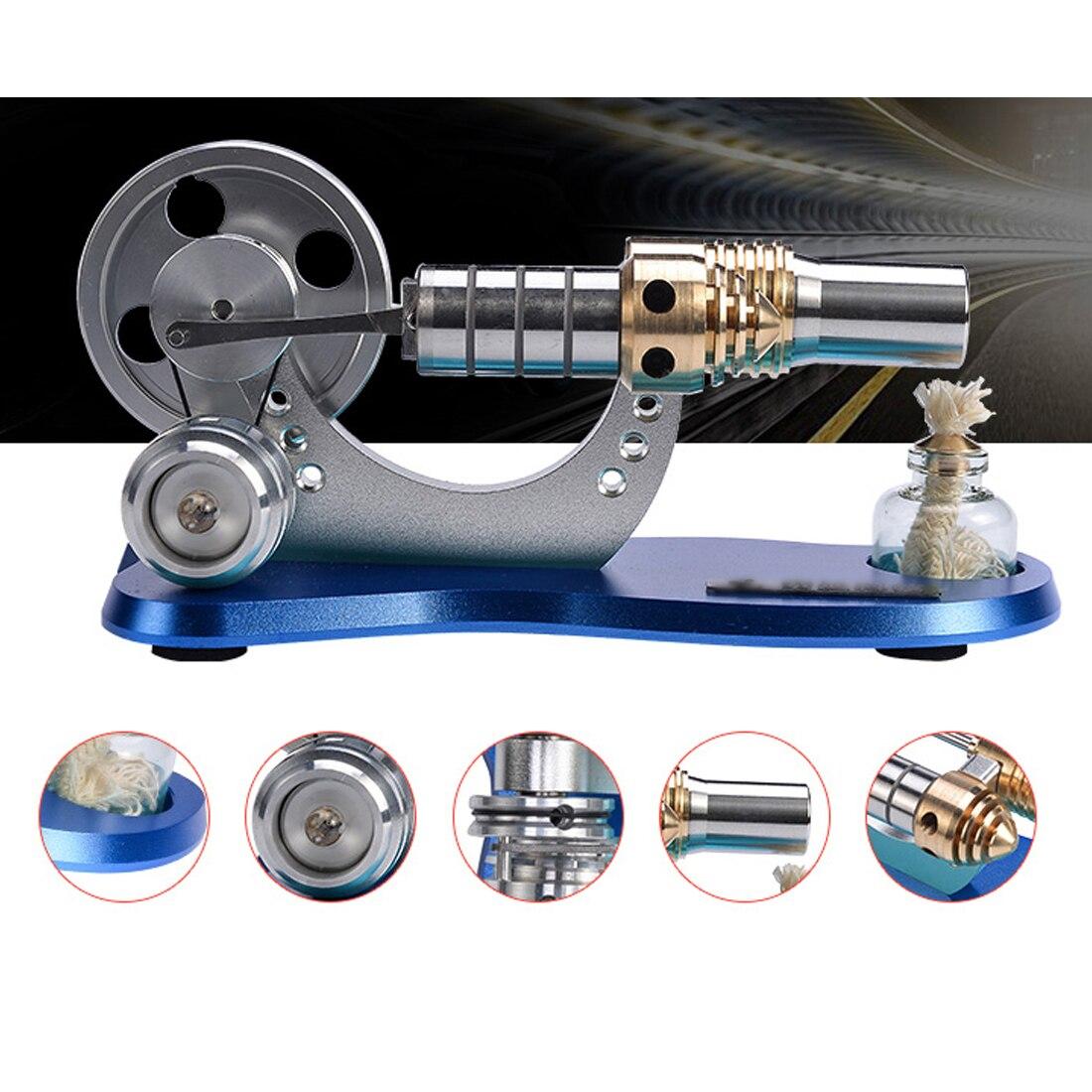 Metal Cylinder Bootable Stirling Engine Model Micro External Combustion Engine Model - Blue Baseboard metal baseboard double cylinder micro diy stirling engine external combustion engine