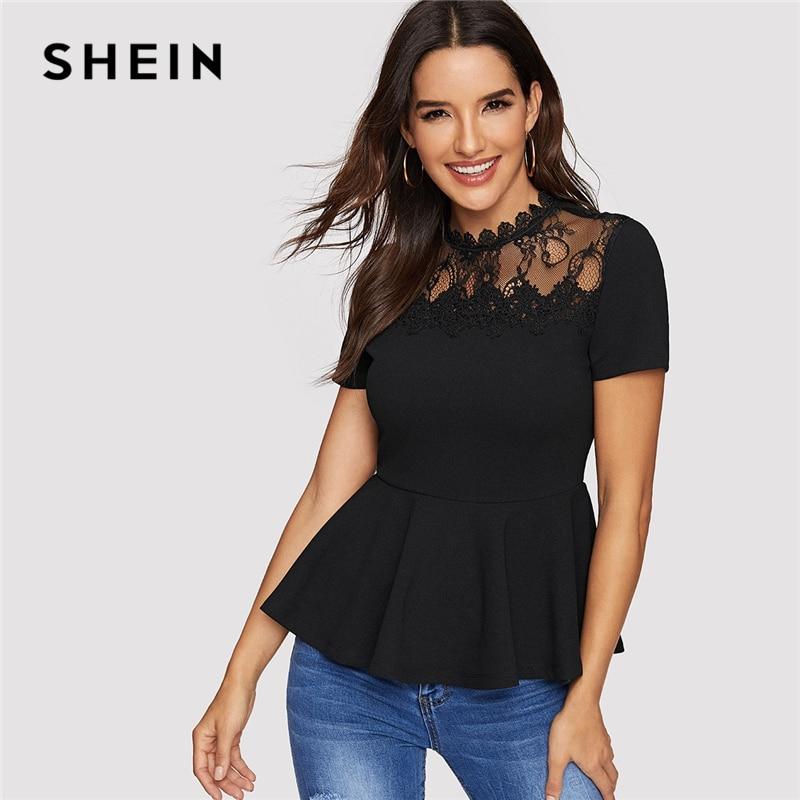 0d9e80034e SHEIN Black Sheer Lace Yoke Peplum Top Zipper Back Short Sleeve Blouse Women  Summer Office Ladies