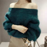 Autumn And Winter Basic Sexy Women Sweater Slash Neckline Sweater Thick Sweater Off Shoulder Pullover Sweaters