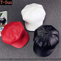 High Quality Fashion Artist Leather Men Women Beret Hat For Female Male Cap Casual Bare Color Golf Hat Visors Golf Driving Caps