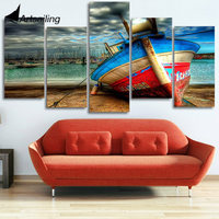 Framed Printed Old Boat Artistic Picture Painting On Canvas Room Decoration Print Poster Picture Canvas Free