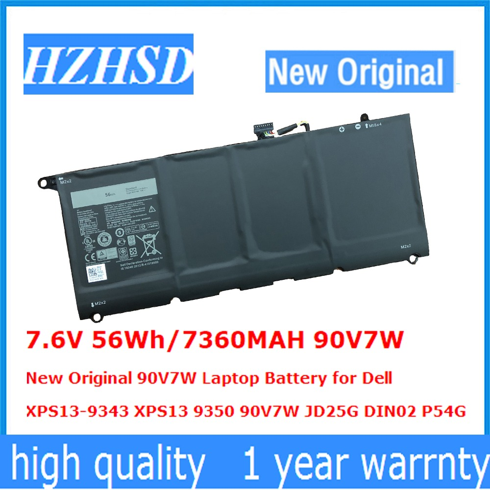 7.6V 56Wh/7360MAH 90V7W New Original 90V7W Laptop Battery for Dell XPS13-9343 XPS13 9350 90V7W JD25G DIN02 P54G new emay gaahoo power led or microphone board ffc flex cable for dell xps13 9343 9350 9360 fru 0m7kyc cn 0m7kyc