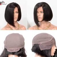 Sunnymay Боб Синтетические волосы на кружеве человеческих волос парики 150% плотность Бразильские волосы девственницы боковой части Синтетичес