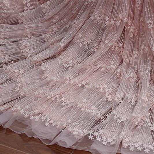 Custom OS1 Sweet Pink, White Milk, Silk Yarn Embroidered Fabric, Dress Curtain Wedding Accessories