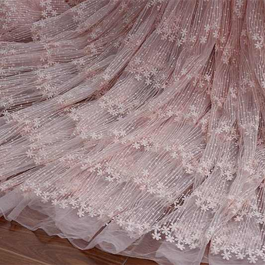 Custom OS1 Sweet Pink, White Milk, Silk Yarn Embroidered Fabric, Dress Curtain Wedding Accessories