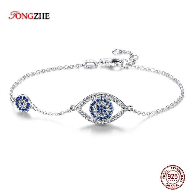 TONGZHE עין רעה צמיד 925 סטרלינג כסף כחול עיקרי אבן תכשיטי קישור צמידי לנשים מזל יוקרה Pulseira Feminina