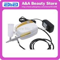 Portable Airbrush Tanning Set Body Paint Kit 1pc Mini Compressor 1pc Airbrush 20ml 40ml Bottle CE