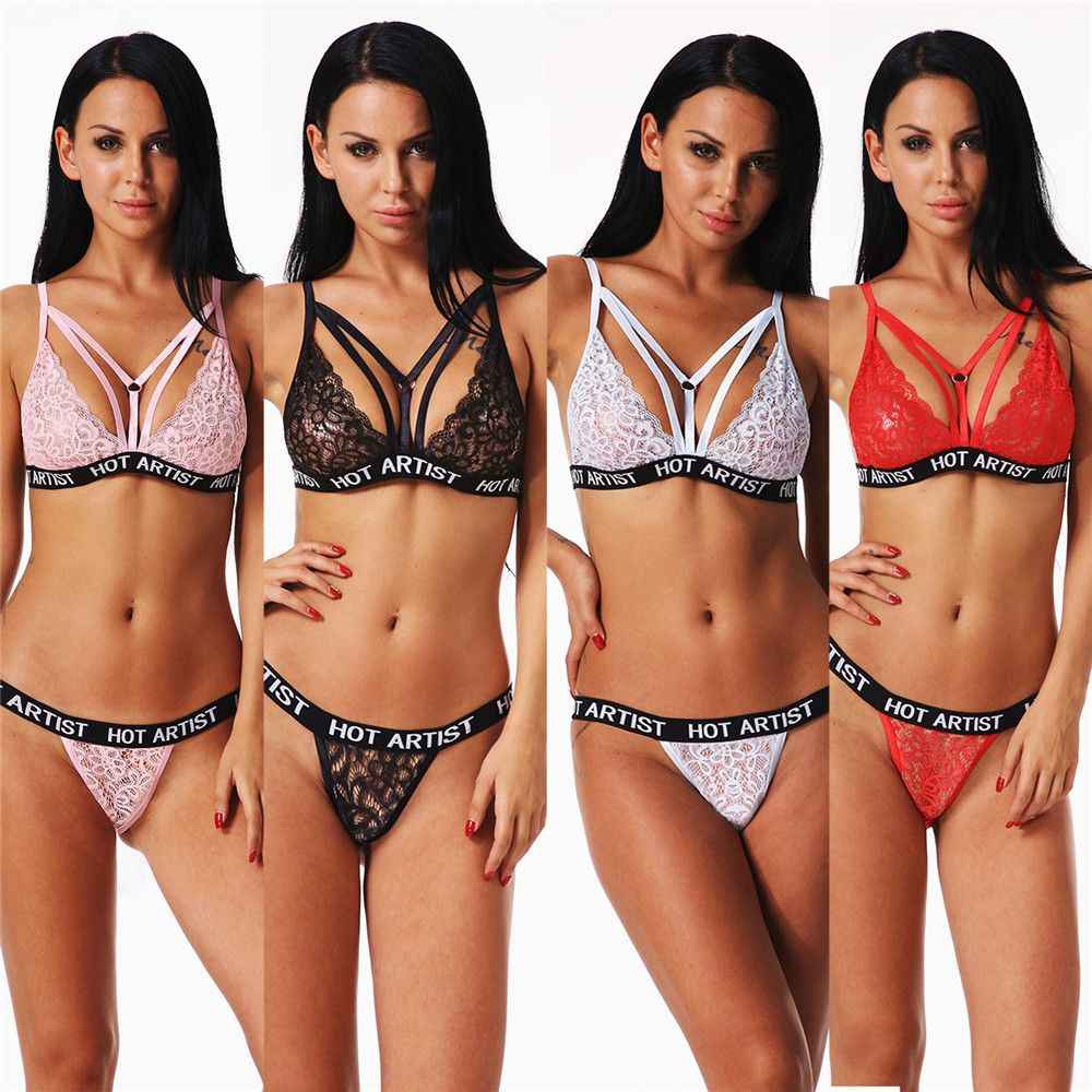 5efcb3bb380d 4Styles Women Sexy Fashion Lace Lingerie Set Plus Size Bandage Corset Push  Up Bra+G