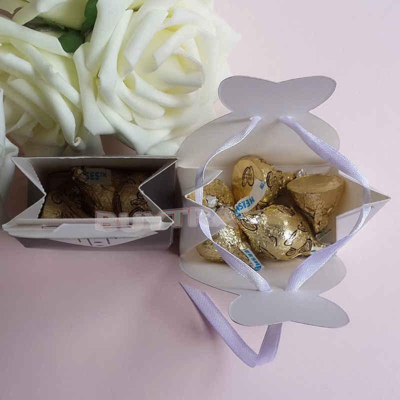 100 قطعة الزفاف العروس والعريس صندوق حلوى الزفاف هدية لصالح صناديق Bonbonniere الحدث لوازم الحفلات مع الشريط