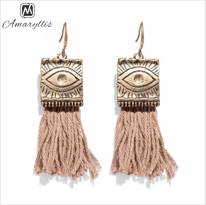 Amaiyllis Vintage Tibetan Sign Geometrical Pendant Earrings For Women Ethnic Long Tassel Dangle Earrings Bohemia Fringe Earrings