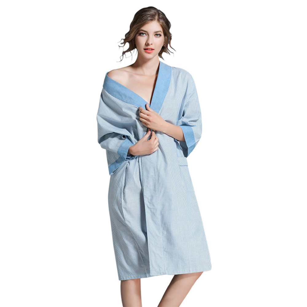 Dressing Gowns Womens Kimono Style Couple Bathrobe Cotton Loose Men and  Women Towel Robe Sleepwear Nightgown with Waist d1ea8a0d6