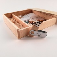 Wood Wooden Photo Album Box with usb 3.0 memory pen drieve (free logo fee)