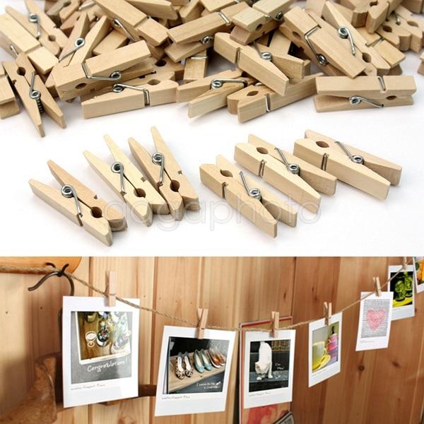 Newest 100 pcs mini wooden clothes photo paper peg for Clothespin photo hanger