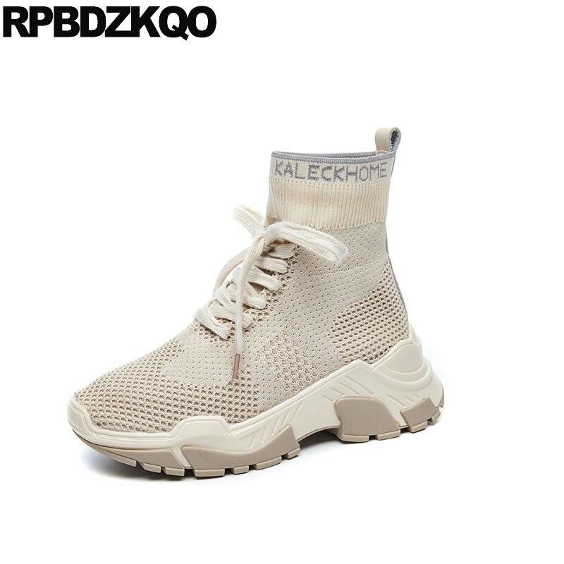 c9d73b1842c9a6 Cheville noir Lace Chaussons D'été Sneakers Stretch Flatform Talon Bottes  Muffin 2018 Chaussures Up Femmes ...