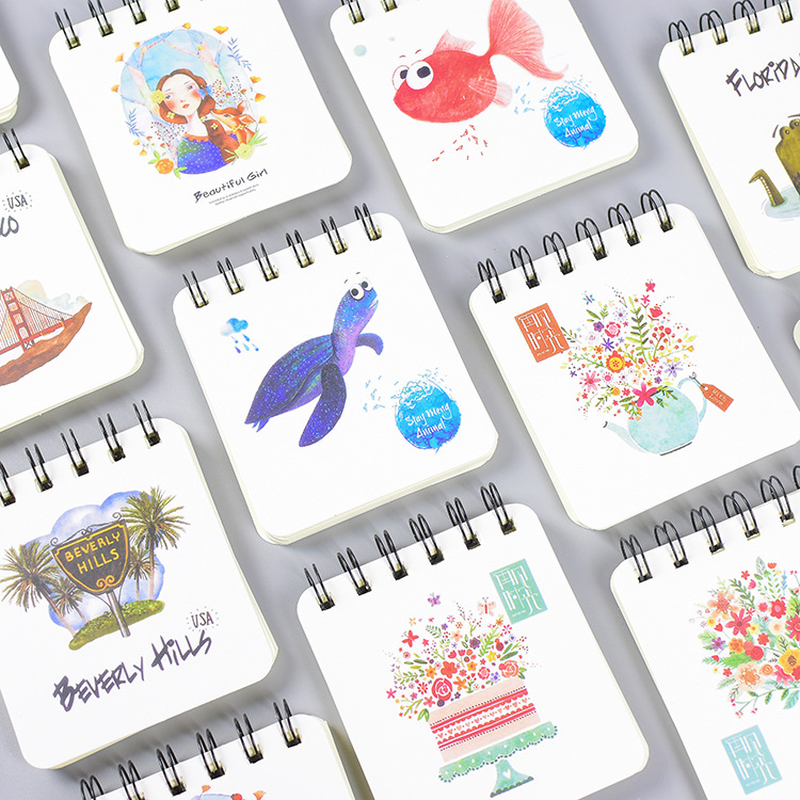 1pcs New Creative Coil Pocket Book Wholesale With Small Notepad Fresh Retro Design Notebook 80sheets 94*83mm