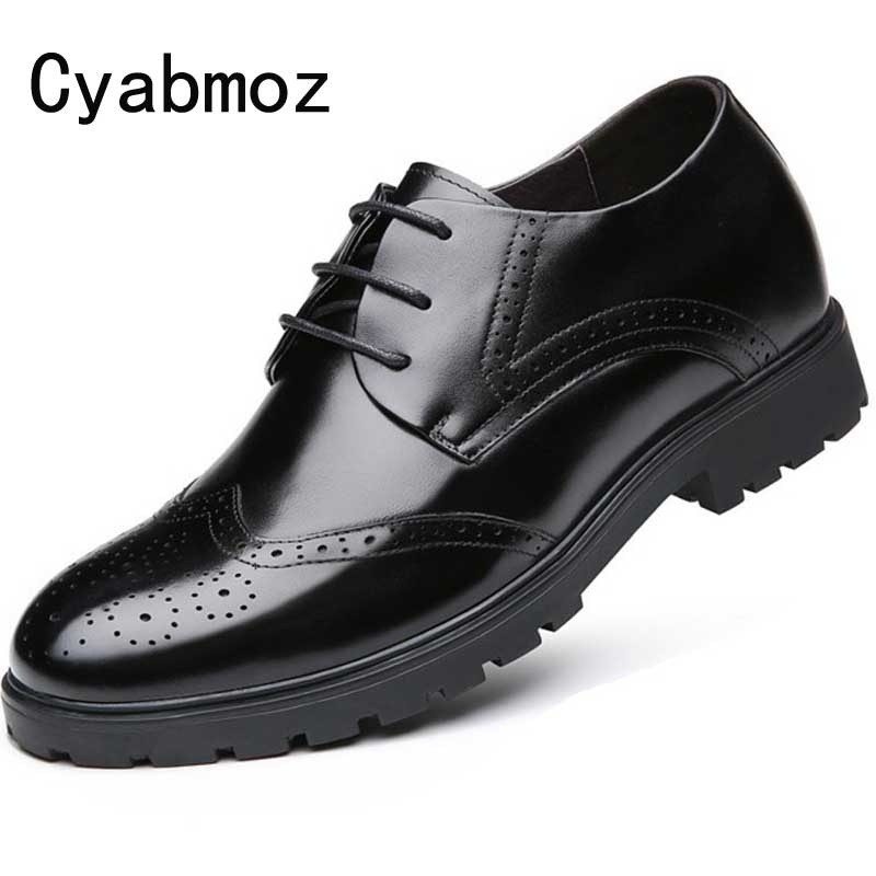 Men Business Elevator Dress Shoes Hidden Height Increasing 7cm Casual Shoes Genuine Leather Oxfords Brogue Office Formal Shoes fashion genuine leather brogue shoes men spring new dress shoes formal shoes height increasing platform men shoes hot sale