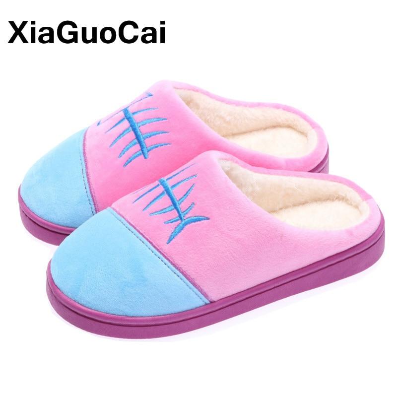 436f2620db Chinelos em casa de Inverno Chinelos Quentes Interior Quarto Mulheres  Pantufa Casa Sapatos Femininos Chinelos De Pelúcia Furry Algodão Unisex 2019