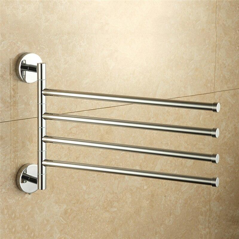 LeKing Stainless Steel Bathroom Towel Holder 4 Swivel Towel Rail Hanger badkamer Shelf Rotate Towel Hat Rack Handdoek Houder