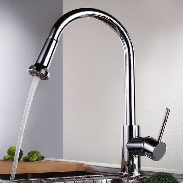 Free shipping New  polished Deck Mounted Pull Out Faucet Chrome Water Power  kitchen Sink Mixer Tap single Handle CH-8103 brand new deck mounted chrome single handle bathroom