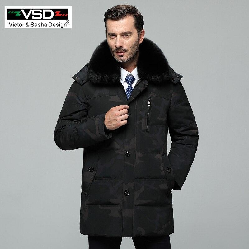 VSD Hiver Nouveau Duvet de Canard Veste Réel Col De Fourrure Hommes De Mode de Haute Qualité Père Vêtements Casual Vestes Épaississement Parka VS970
