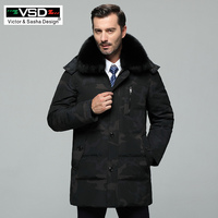 VSD Winter New Duck Down Jacket Real Fur Collar Men's Fashion High Quality Father Clothing Casual Jackets Thickening Parka VS970