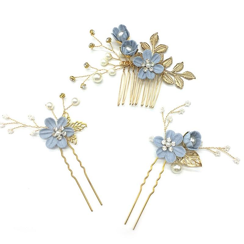 Flower Hair Combs Headdress Prom Bridal Wedding Hair Accessories Gold Leaves Hair Jewelry Hair Pins