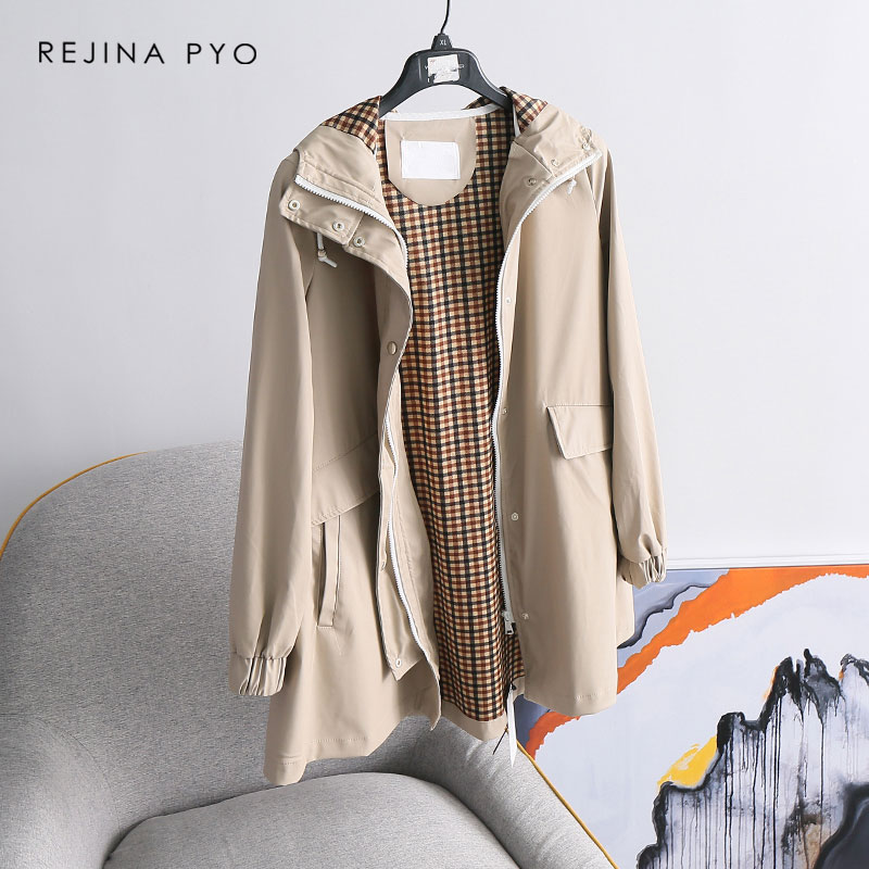 REJINAPYO Women Elegant High Street PU Water-proof Raincoat Long   Trench   Coat Casual Hooded A-line   Trench   Outerwear with Lining