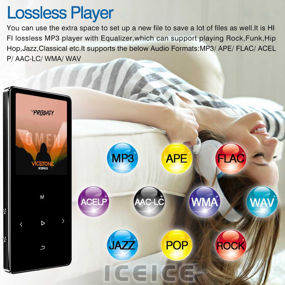 ICEICE MP3 Máy Nghe Nhạc với tai nghe 1.8 inch Màn Hình cảm ứng phím hi fi fm đài phát thanh nhỏ thể thao MP 3 máy nghe nhạc kim loại cầm tay walkman
