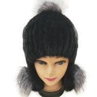 HSPL 2017 Winter Fashion Women Mink Fur Hat Pompom With Ear Flap Ladies Knit Beanie Warm Black Russia Cap Female Wholesale Caps
