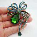 "3.07"" Vintage Style Flower Leaf Drop Brooch Pin  Green Rhinestone Crystal Pendant"