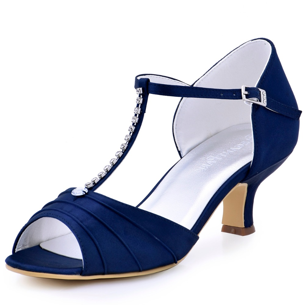 Shoes Woman Navy Blue Low Heel Rhinestone T Strap Pumps Satin ...