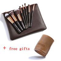 Brand Makeup Mostarsea Brushes Set 8pcs Set Pro Soft Fiber Complete Blending Wooded Handle With Leather