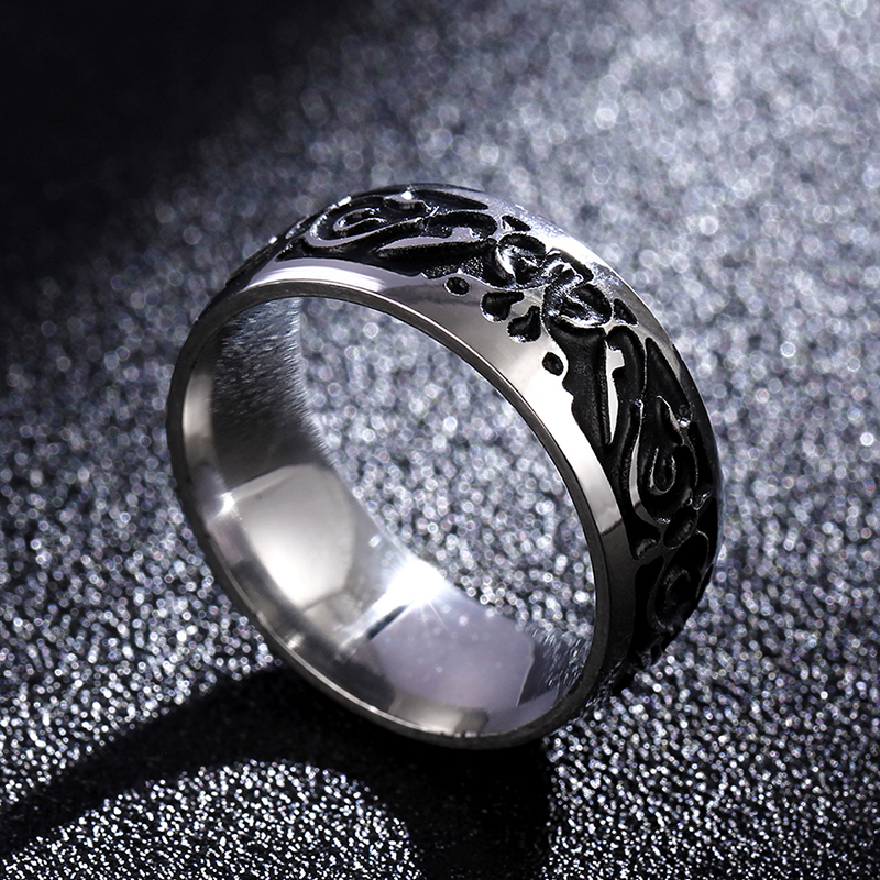 Titanium V65 Vintage Dekorativni uzorak prsten od nehrđajućeg - Modni nakit - Foto 3
