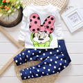 Free shipping 2016 New kids clothes girl baby long sleeve cotton Minnie casual suits baby clothing retail children suits