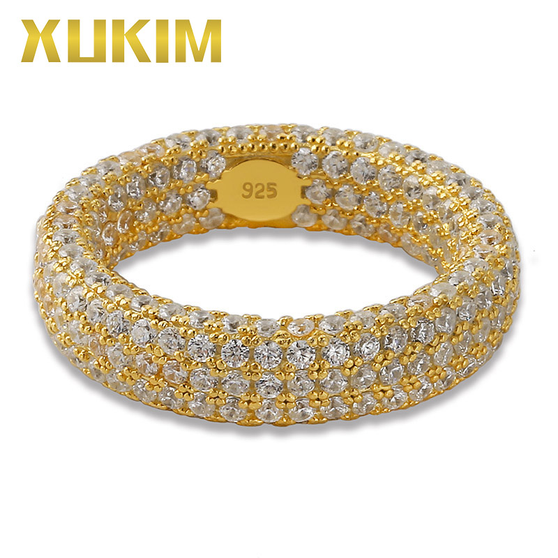 Xukim bijoux complet glacé trois couches 925 argent Sterling Hip Hop anneau de mariage bague de fiançailles bijoux cadeau pour hommes femmes