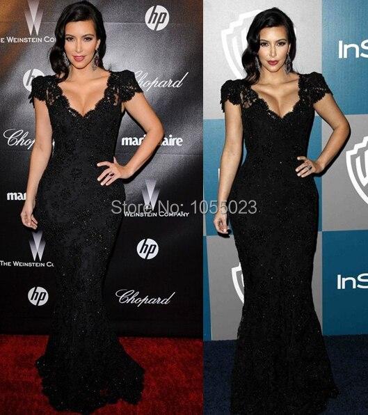 Kim Kardashian Black Lace Prom Dress Golden Globes Party Red Carpet ...