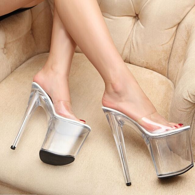 2015 summer sexy nightclub transparent glass slipper 20cm super high heels  sandals and slippers fine with large size shoes f736b4ca8be9