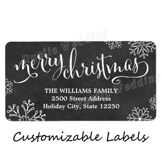 Christmas Return Address Labels.Us 8 68 39 Off Return Address Labels Merry Christmas Chalkboard Hand Lettered Label Merry Kissmas Christmas Goodie Bag Label In Pendant Drop