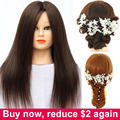 100% Human Hair Mannequin Heads Hairdressing Training Practice Head Hair Styling Mannequins Doll Heads with Free Clamp Wholesale