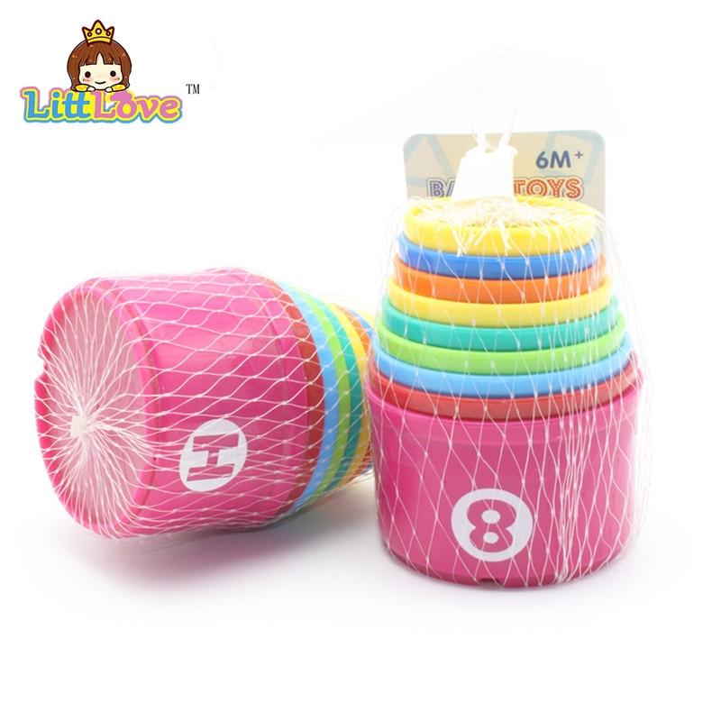 LittLove 9Pcs / Set Toy Bayi Lucu Pendidikan Pembelajaran Kecil Jenga - Mainan pembinaan - Foto 5