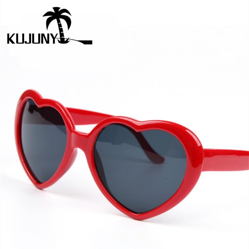 KUJUNY Heart Shaped Sun Glasses for Women Retro Female Love-