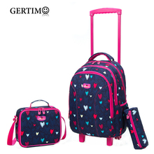 3pcs School Rolling backpack girls On wheels Girls Trolley wheeled Backpacks Child Travel luggage Bag