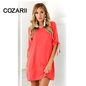 COZARII Summer Dress 2018 Women's Short Sleeve Casual O-Neck Loose DressSolid color dress Beach Dresses Plus Size Vestidos(China)