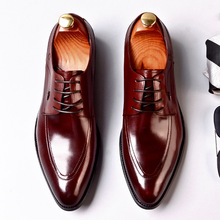 QYFCIOUFU Italian Designer Formal Mens Dress Shoes Genuine Leather Oxford Shoe Fashion Black Wine Red Pointed Toe Office Shoes