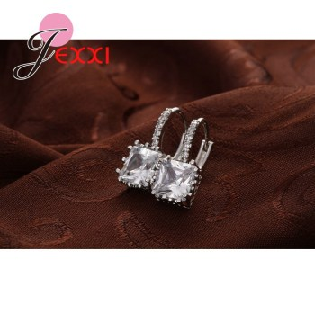 Real   Silver Huggie Lever Back Earrings Luxury Shiny 2 Carat CZ Crystal Cubic Zircon Hot Sale Women Jewelry 1