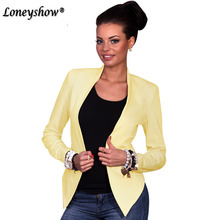 Loneyshow 2018 New Office Ladies Solid Blazers Formal Women's Blaser Pocket Collarless Long Sleeve Outwear Femme Feminino Suit