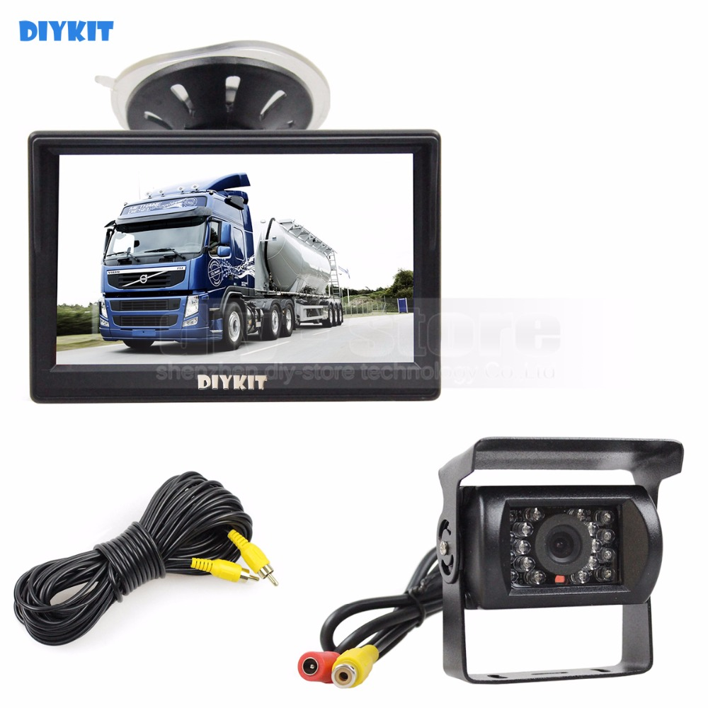 DIYKIT 5 inch LCD Display Rear View Car Monitor with Waterproof Color Ccd Reverse Backup Car